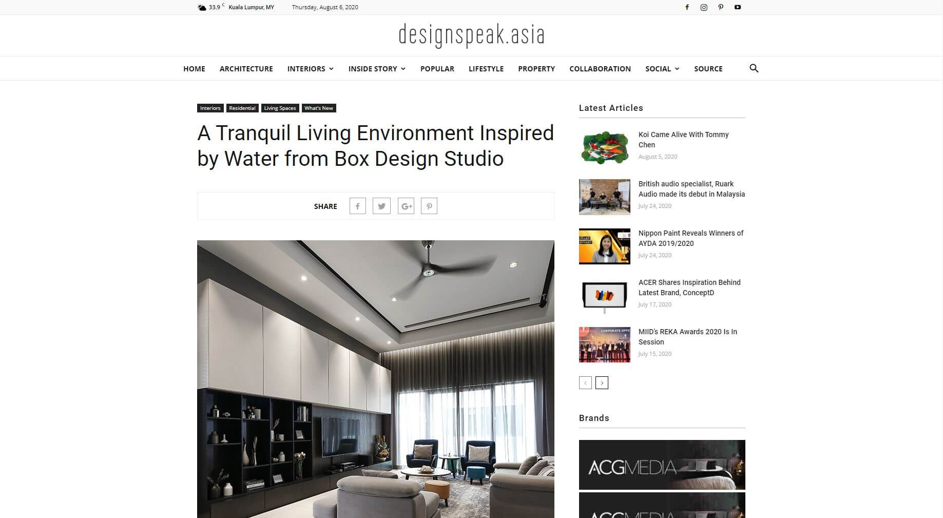 A Tranquil Living Environment Inspired by Water from Box Design Studio, December 2018